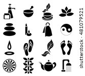 simple spa icons set. universal ...
