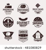 set of sausage brown logo ... | Shutterstock .eps vector #481080829