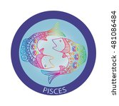 pisces zodiac zentangle | Shutterstock .eps vector #481086484