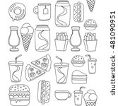 hand drawn vector doodle icons... | Shutterstock .eps vector #481090951
