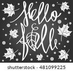 hello fall. handdrawn lettering.... | Shutterstock .eps vector #481099225