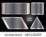 metal circle mesh set on black... | Shutterstock .eps vector #481126009