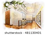 sketch perspective interior... | Shutterstock . vector #481130401