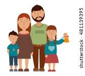 Small Happy Family  Vector...