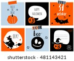 halloween gift cards set.... | Shutterstock .eps vector #481143421