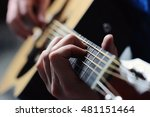 man's hands playing acoustic... | Shutterstock . vector #481151464