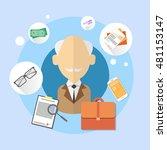 pensioner senior man bank...   Shutterstock .eps vector #481153147