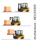 forklift truck shipping step in ... | Shutterstock .eps vector #481154305