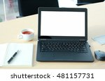 laptop with blank screen on... | Shutterstock . vector #481157731