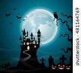 halloween background with... | Shutterstock . vector #481164769