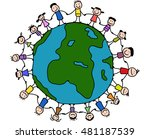 children around the world   Shutterstock .eps vector #481187539