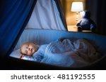 adorable baby sleeping in blue... | Shutterstock . vector #481192555