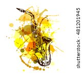 colored hand sketch saxophone.... | Shutterstock .eps vector #481201945