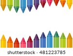 close up colored crayons wave... | Shutterstock .eps vector #481223785