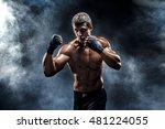 muscular kick box or muay thai... | Shutterstock . vector #481224055