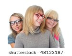 three attractive girls isolated ... | Shutterstock . vector #48123187