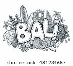 black vector bali sign on hand... | Shutterstock .eps vector #481234687