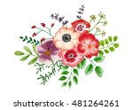 bouquet of flowers and leaves... | Shutterstock . vector #481264261