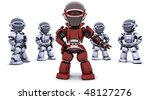 3D render of a red robot leading a team - stock photo