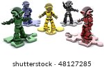 3D render of robots on jigsaw pieces solving problems - stock photo
