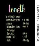 length. hand written formula of ... | Shutterstock .eps vector #481273957