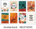 set of artistic creative autumn ... | Shutterstock .eps vector #481276345