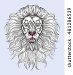 hand drawn lion head in line... | Shutterstock . vector #481286539