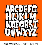 comic alphabet. graffiti vector ... | Shutterstock .eps vector #481312174