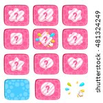 cartoon bright buttons with...