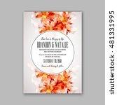 romantic pink peony bouquet... | Shutterstock .eps vector #481331995