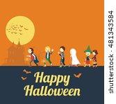 illustration of children in... | Shutterstock .eps vector #481343584