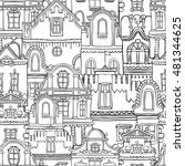 pattern with hand drawn vintage ... | Shutterstock .eps vector #481344625