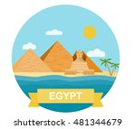 egyptian pyramid and sphinx.... | Shutterstock .eps vector #481344679