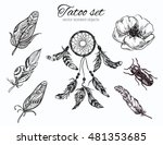 boho collection. tatoo set | Shutterstock .eps vector #481353685