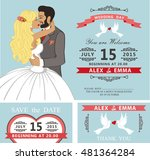 wedding invitation with cartoon ... | Shutterstock . vector #481364284