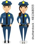 a girl and a guy cop. in the... | Shutterstock .eps vector #481368055