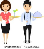 the boy waiter with a tray in... | Shutterstock .eps vector #481368061