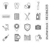 a set of vector icons in dental ... | Shutterstock .eps vector #481386205