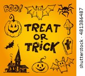 halloween hand drawn characters ... | Shutterstock .eps vector #481386487