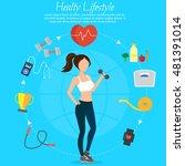 healthy lifestyle vector set...   Shutterstock .eps vector #481391014