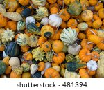A variety of small gourds and pumpkins in a crate - stock photo