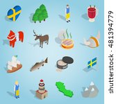isometric sweden icons set....