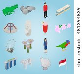 isometric singapore icons set....