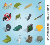 isometric military icons set....