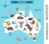 cartoon map of australia... | Shutterstock .eps vector #481395229