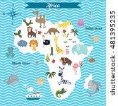 cartoon map of africa continent ... | Shutterstock .eps vector #481395235
