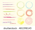 set of colorful hand drawn oil... | Shutterstock .eps vector #481398145
