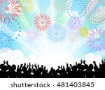 a crowd of people and fireworks | Shutterstock .eps vector #481403845