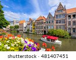 Flowers along a canal in the old town of Ghent, Belgium
