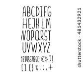 sans serif hand drawn pen font  ... | Shutterstock .eps vector #481432921